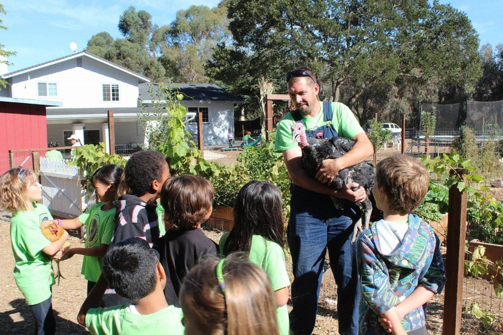 kids learning in a garden