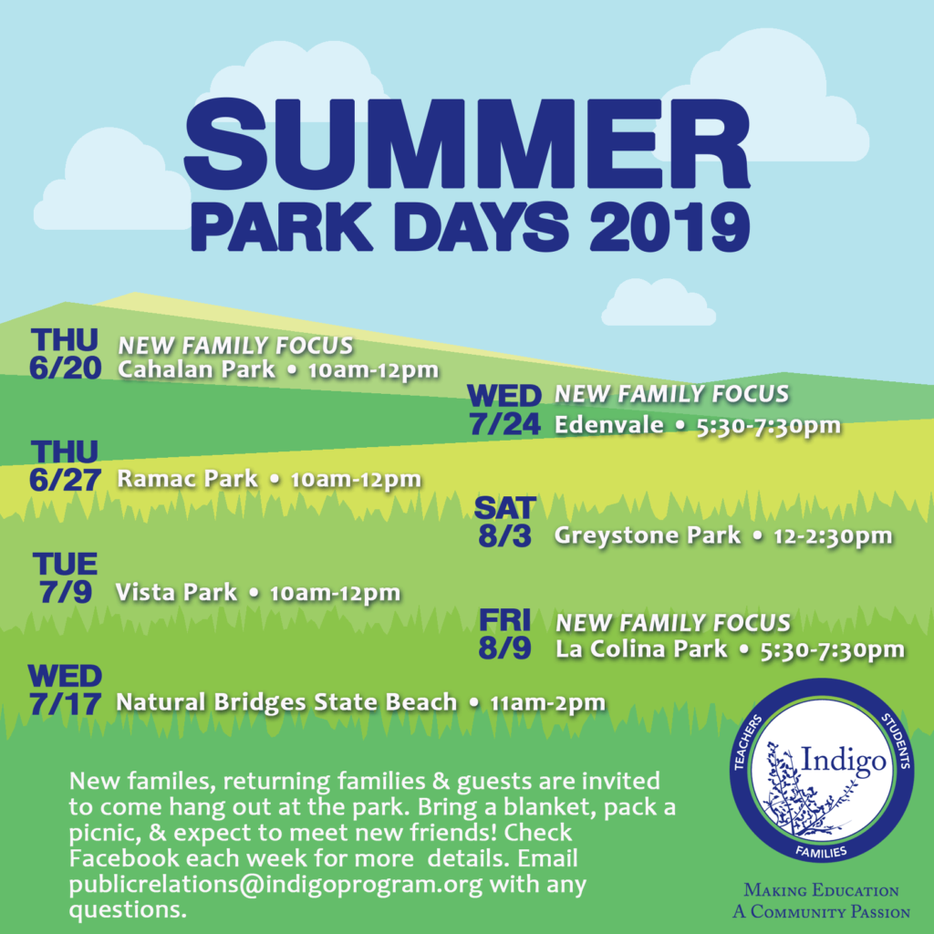 Summer Park Days 2019 Schedule